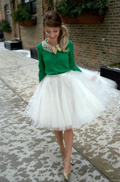 outfit falda de tul blanca