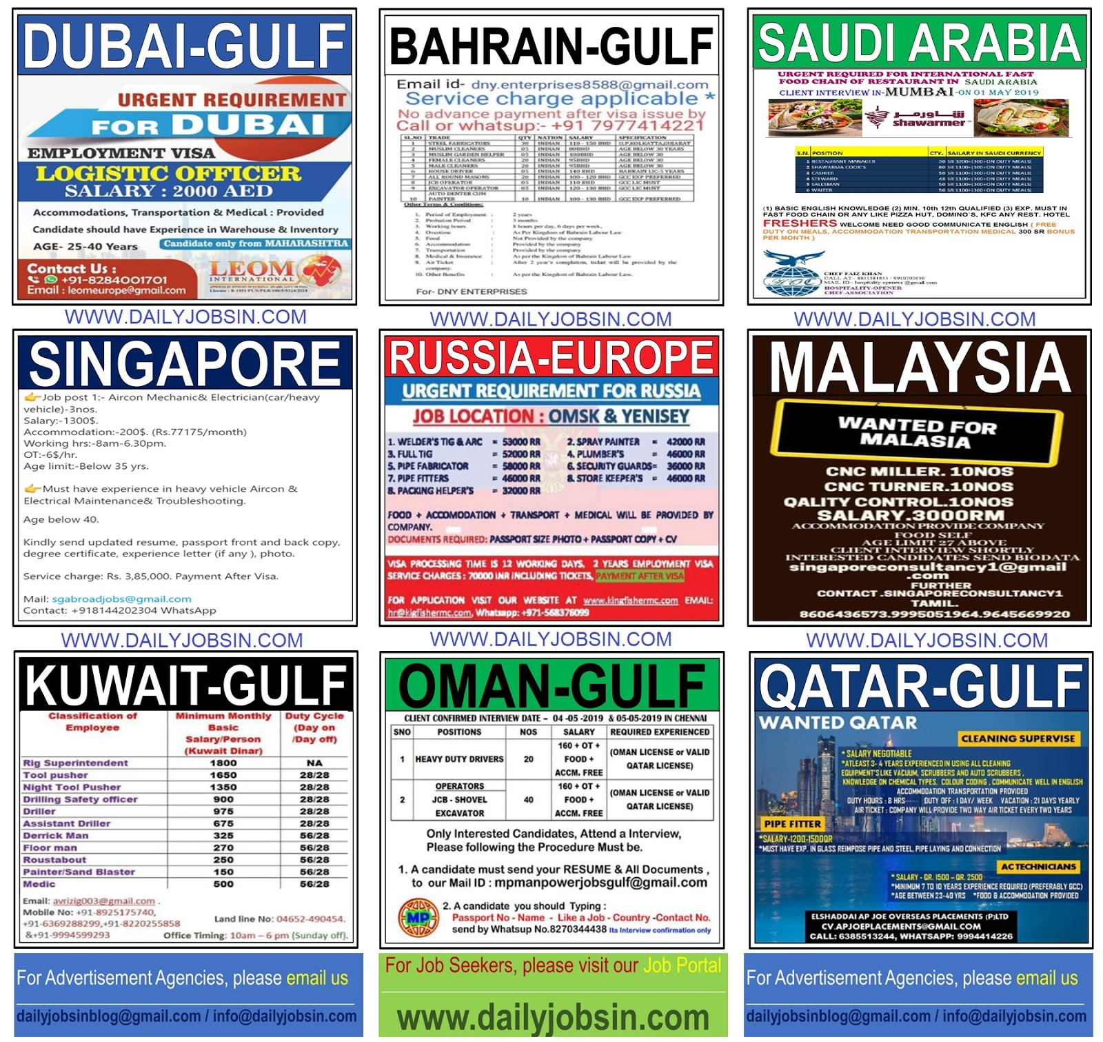 JOBS IN SINGAPORE, RUSSIA-EUROPE, MALAYSIA & GULF COUNTRIES ||