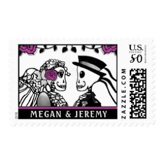 Skeletons Purple Roses Custom Names Medium Postage Stamp Wedding