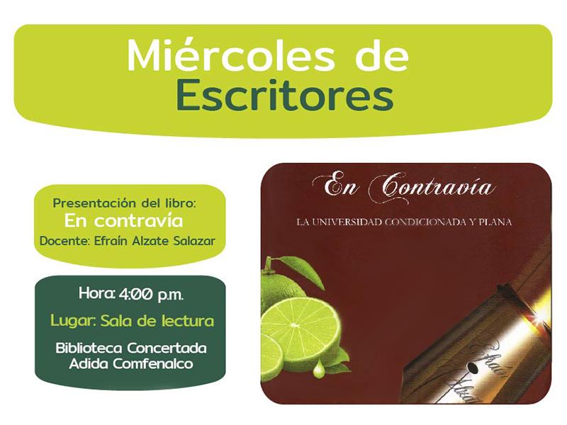Invitación Miércoles de Escritores Biblioteca Concertada ADIDA COMFENALCO