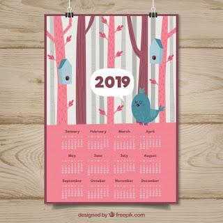 Bonito calendario 2019 con pájaros