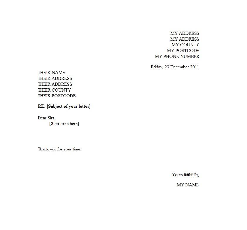 formal letter format template