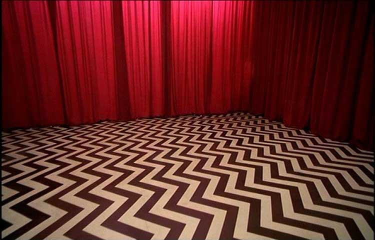 The red curtains of the Black Lodge in the Twin Peaks series finale.
