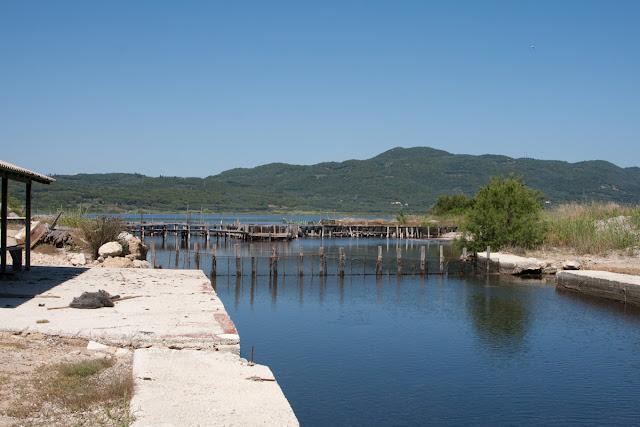 The channel between the sea and salt lake Korisson. Corfu. Greece. Канал между морем и соленым озером Кориссон. Остров Корфу. Греция.