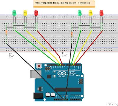 Fig. 2 - Semafori realizzati su Breadboard - Versione B di Paolo Luongo