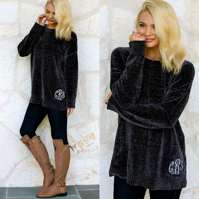 monogrammed chenille sweater tunic with leggings and riding boots