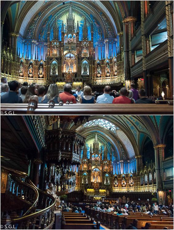 Interior Basilica Notre Dame de Montreal. Canada