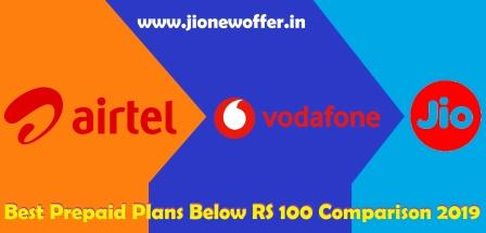 Airtel vs. Jio vs. Vodafone: Best Prepaid Plans Below RS. 100 Comparison 2019