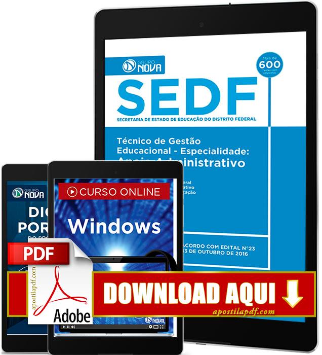 Apostila SEDF 2016 PDF Download Apoio Administrativo