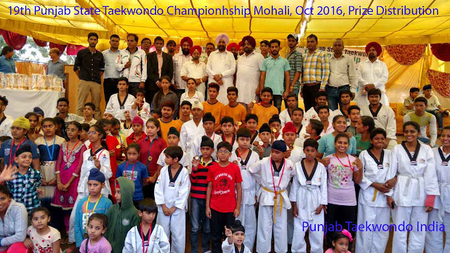 Chief Guest S. Balbir Singh Sidhu MLA, Mohali at Prize Distribution 19th Punjab State Taekwondo Championship, Nov 2016, SAS Nagar, Golden Bells Public School, Master Er. Satpal Singh Rehal with otherson the Stage, Martial Art Tkd Training Classes, Academy, Association, Federation, Chandigarh, India, Kot Maira, Garhshankar, Hoshiarpur