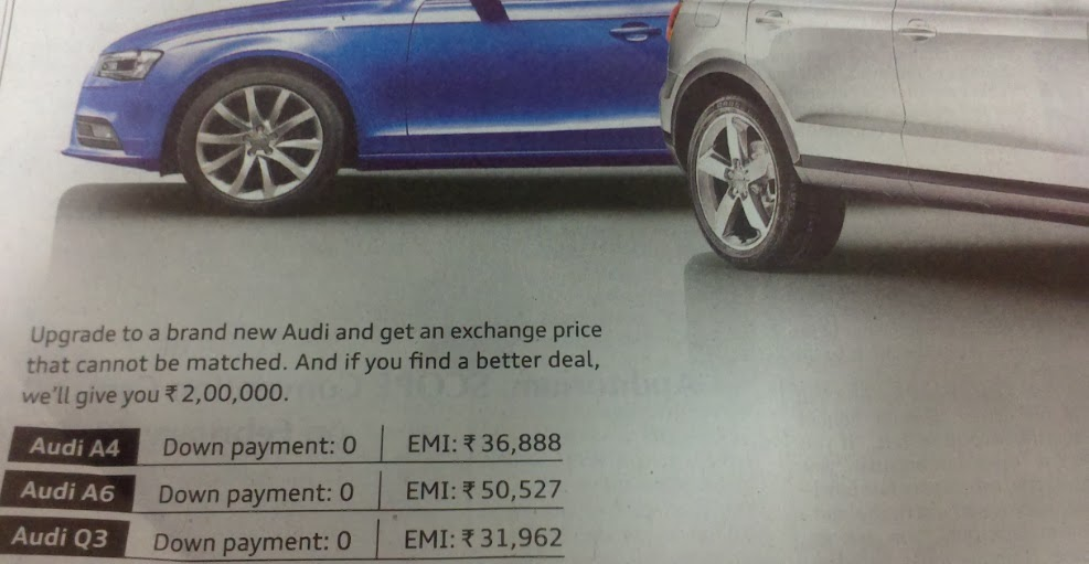 Audi Finance Annual Bullet Scheme For Q3 Enidhi India Travel Blog
