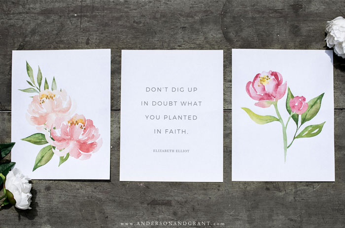 Summer printables with watercolor peony flowers
