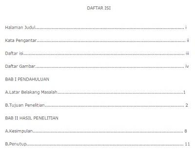 Contoh Daftar Isi Makalah Laporan Buku Skripsi Singkat