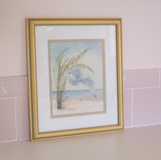 seagull watercolor print framed