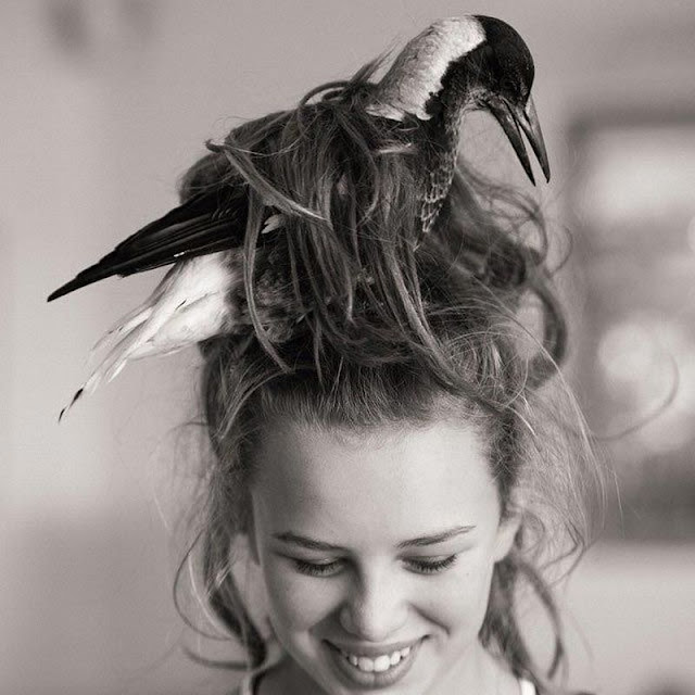 A bird stucked in a woman hair