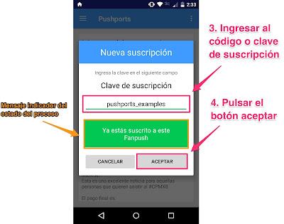 Agregar código de suscripción pushports para android