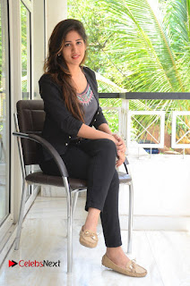 Actress Chandini Chowdary Pictures in Black Jeans at Interview  0236.JPG