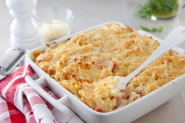 recette Gratin de pâtes au jambon