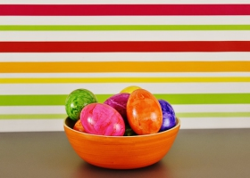 Picture of colorful Easter eggs in a bowl.