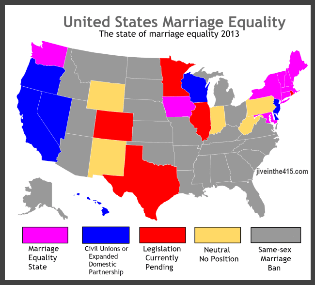 Marriage Equality Data Map March 2013 jiveinthe415.com