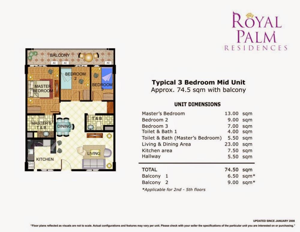 Royal Plam Residences - 3 Bedroom Unit 74.50 sqm.