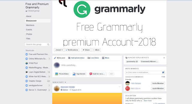 Facebook Group For Free Grammarly Premium