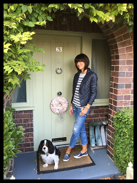 My Midlife Fashion, Marks and Spencer Faux leather quilted biker jacket, hush stripe jumper, Boden sparkly slip ons