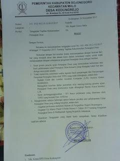 Kades Kedungrejo Layangkan Surat Ke Camat Tolak Ajuan Rekomendasi