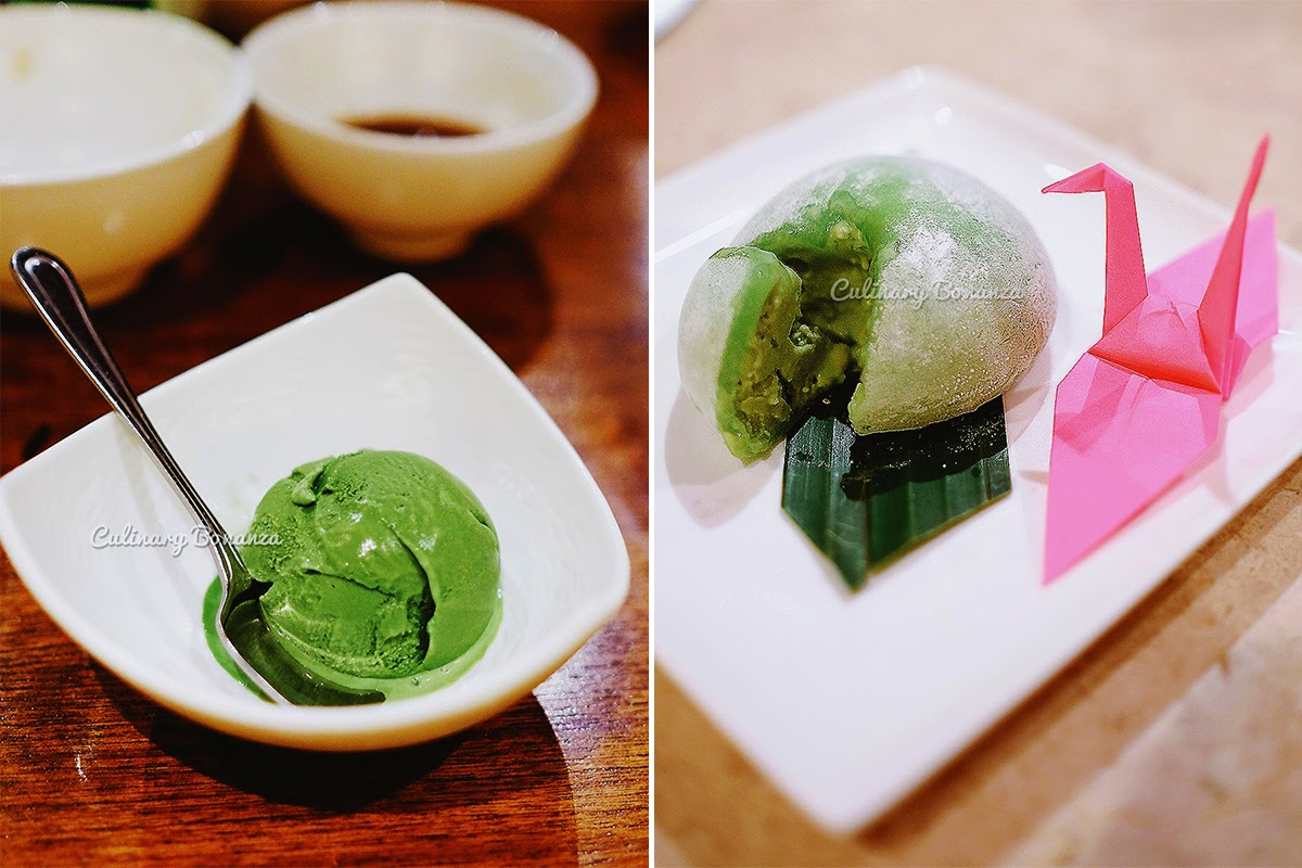 matcha ice cream and matcha ice cream mochi