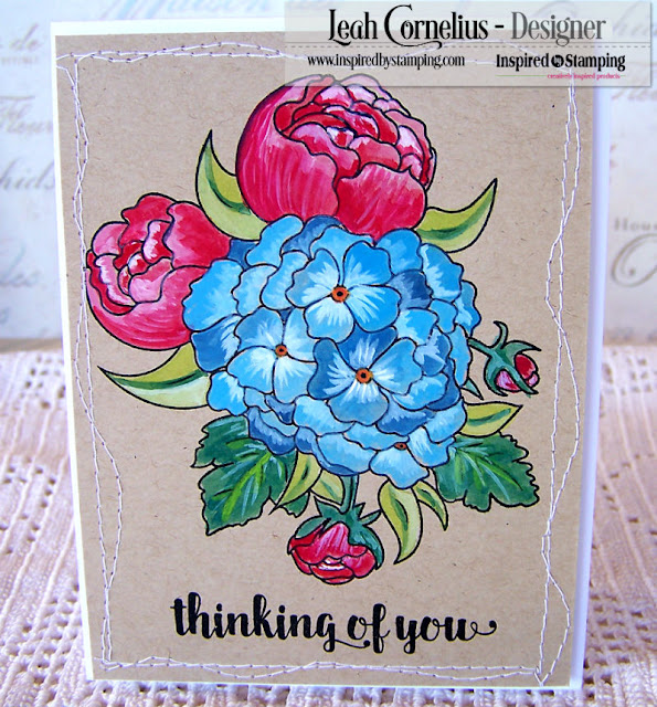 Inspired By Stamping, Leah Cornelius, Fresh Bouquet, gouache, stamping, cards