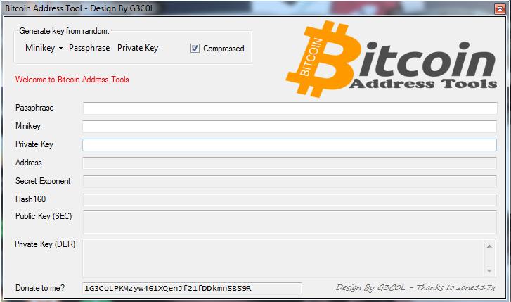 Bitcoin Address Tools ~ Free Bitcoin Tools Software
