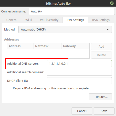 Setting DNS 1.1.1.1 Linux