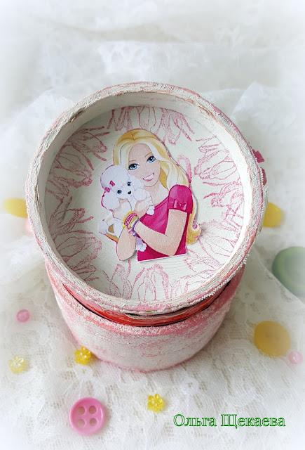 """шкатулка """"Барби"""", casket """"Barbie"""", шкатулка, из бобинки, коробочка"""