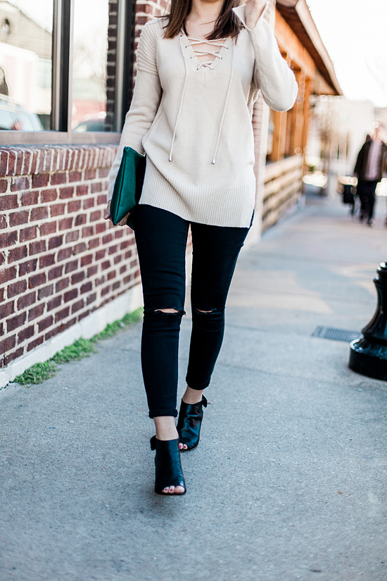 Here&Now: how to style a lace up sweater