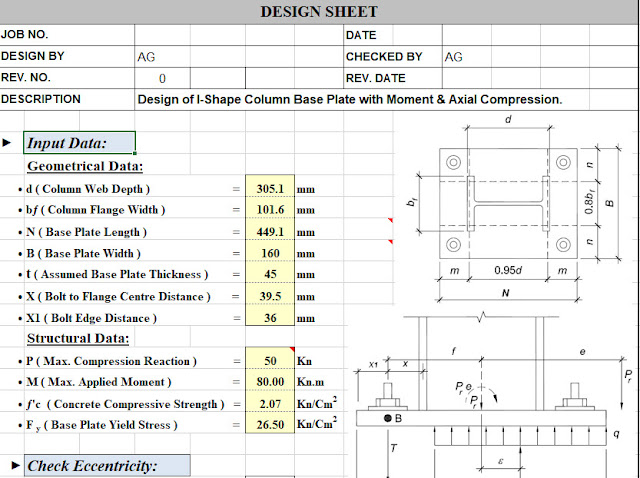 Base plate design for moment and axial compression - Engineering Society