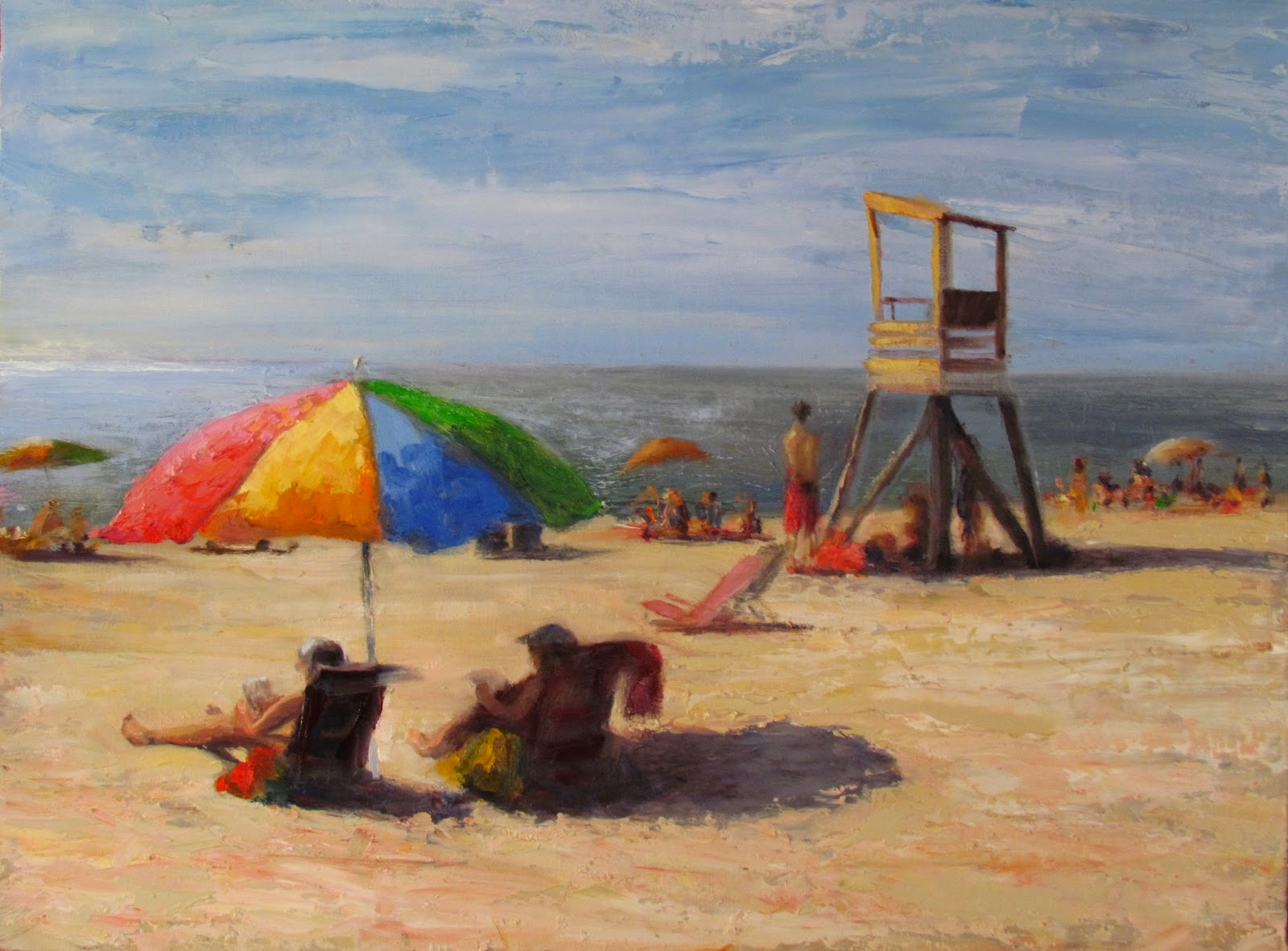 cape cod beach chair harwich pottery barn bean bag maureen vezina oil painter july day in