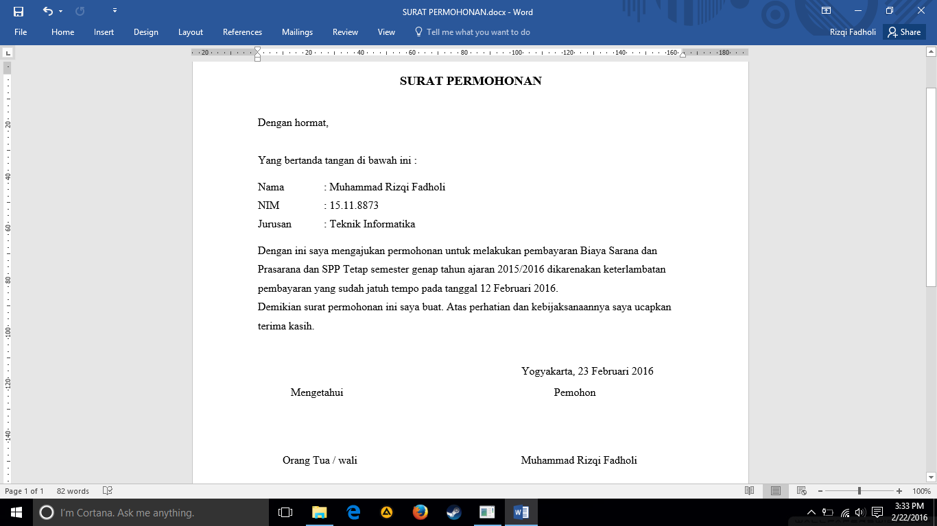 Contoh Surat Permohonan Telat Pembayaran bagi Mahasiswa ...