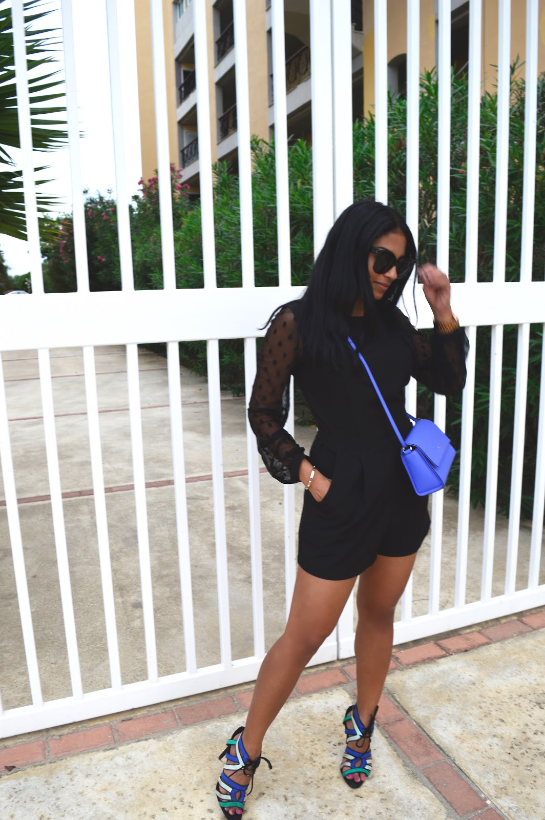 womens fashion outfit idea dressy black romper forever21 celine the fashionably late blog aruba