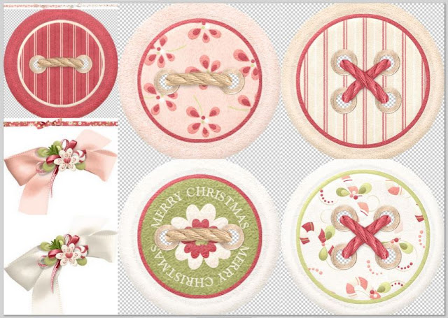 bows and buttons of the Lovely Christmas Clip Art.