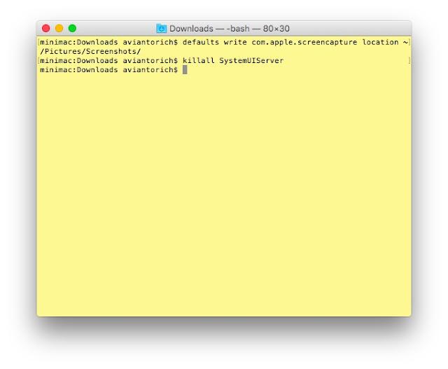 Perintah mengganti lokasi folder Screenshot di Terminal Mac OS X