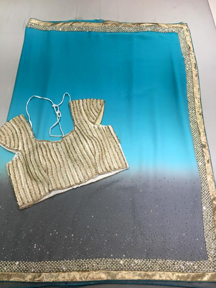 Chiffon Pearl And Stone Work Saree Paired With Designer