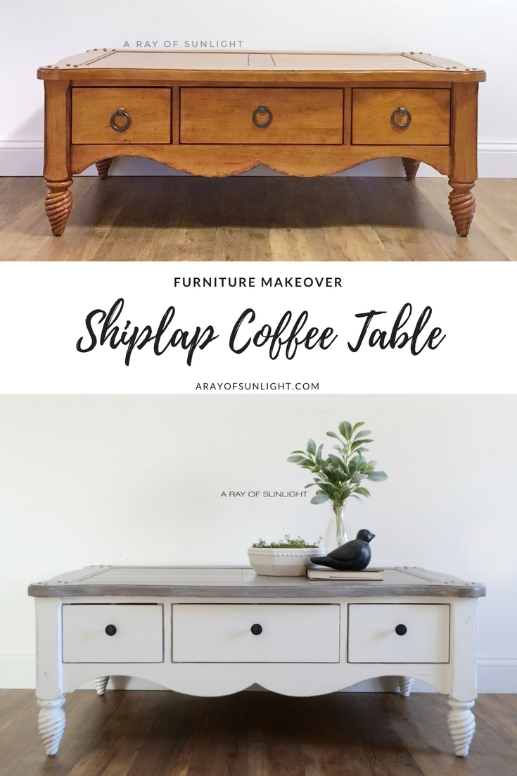 What a transformation! I love the grey layered finish on the top with a crisp white base! This is perfect for my farmhouse style! Furniture Makeover | The Shiplap Coffee Table by A Ray of Sunlight