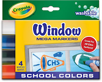 window markers, school colors, mega marker