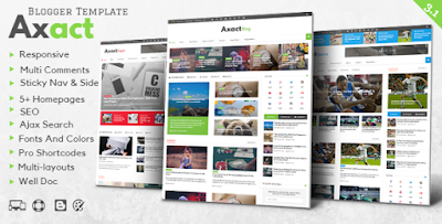 Axact v3.1 – Responsive Magazine Blogger Theme Free Download Paid Blogger Templates