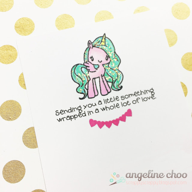 ScrappyScrappy: Clean and Simple with The Cutting Cafe - Mini Pony Party #scrappyscrappy #thecuttingcafe #simonssaysstamp #thegreetingfarm #miniponyparty #unicorn #magical #card #cardmaking #papercraft #stickles #glitter #cas