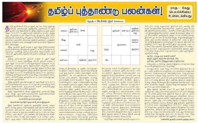 Hevalambi Tamil Puthandu Palangal by Jothidar K C S Iyer