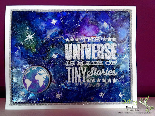 CASEing Alcohol ink Galaxy background with foil card!