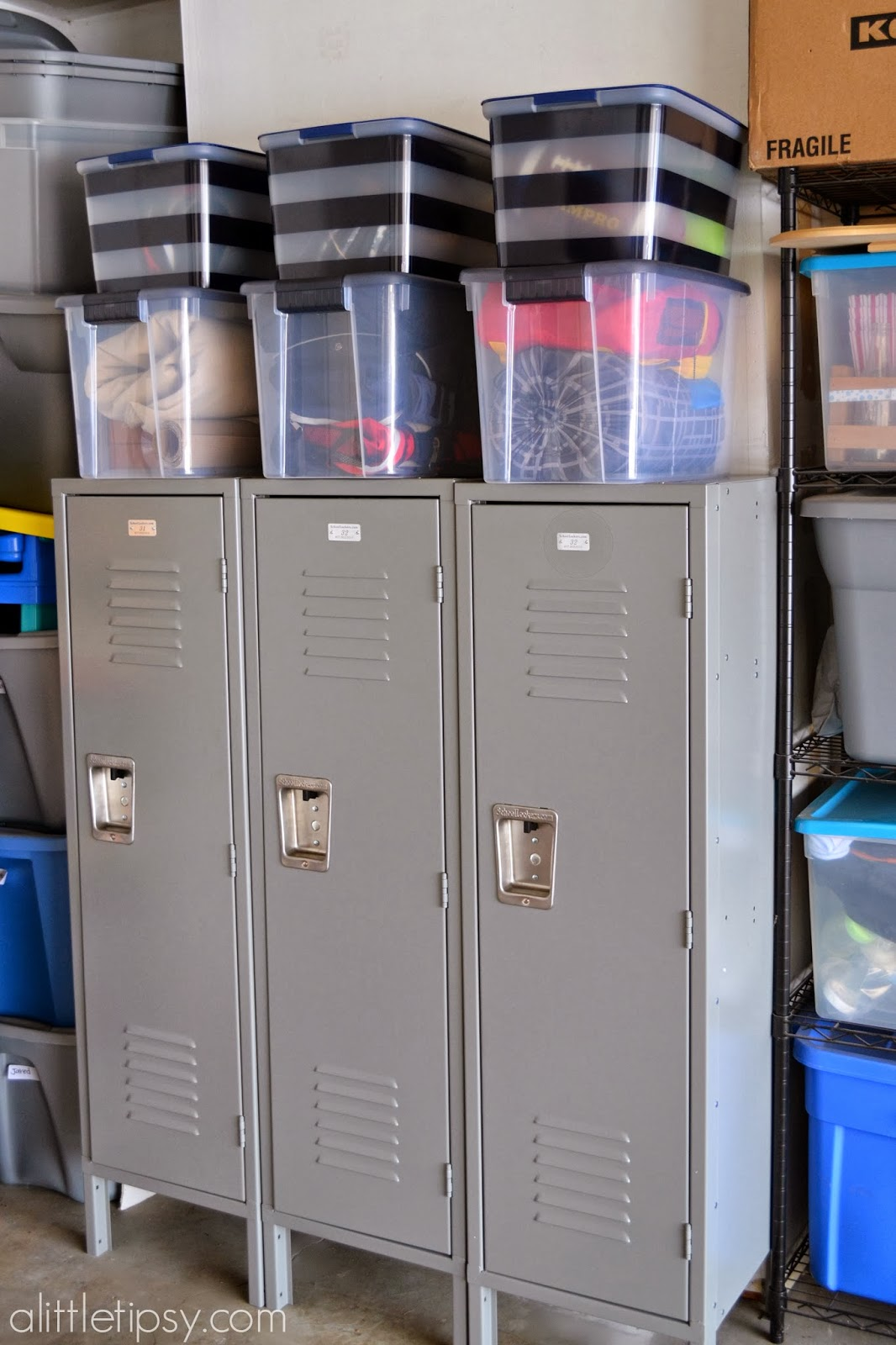 Garage Mud Room with Metal Lockers - A Little Tipsy