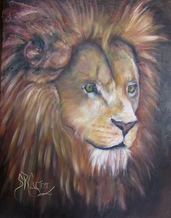 """Shombay"", a lion portrait  in oils, deep canvas"