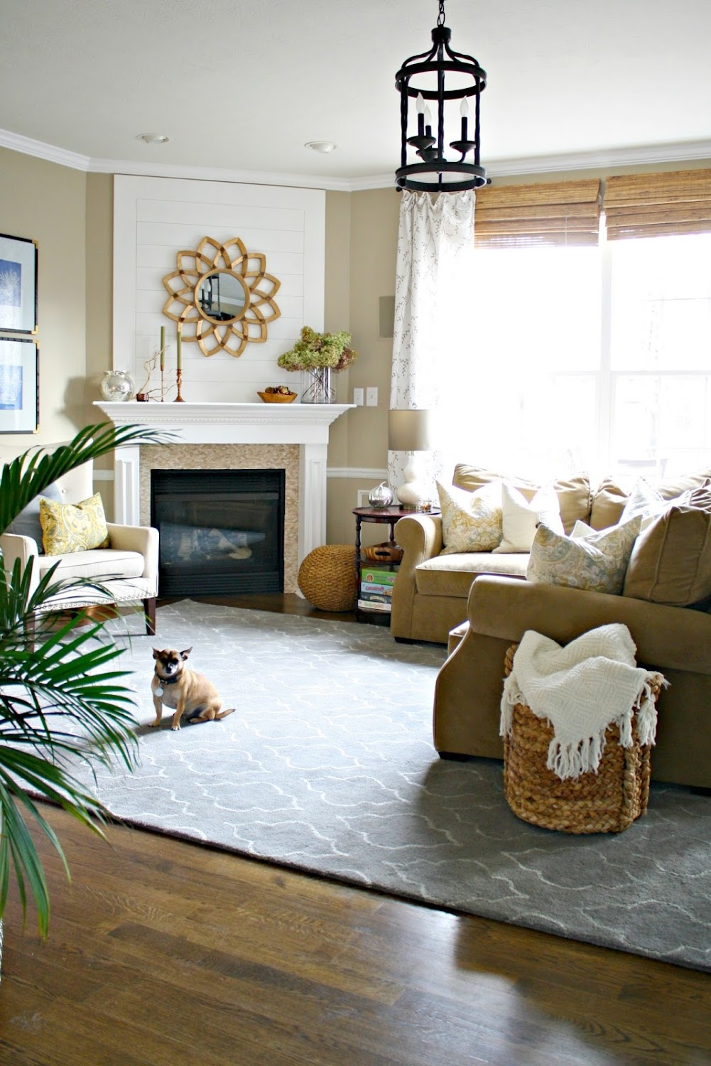 Our home from thrifty decor chick - Living room with fireplace ...